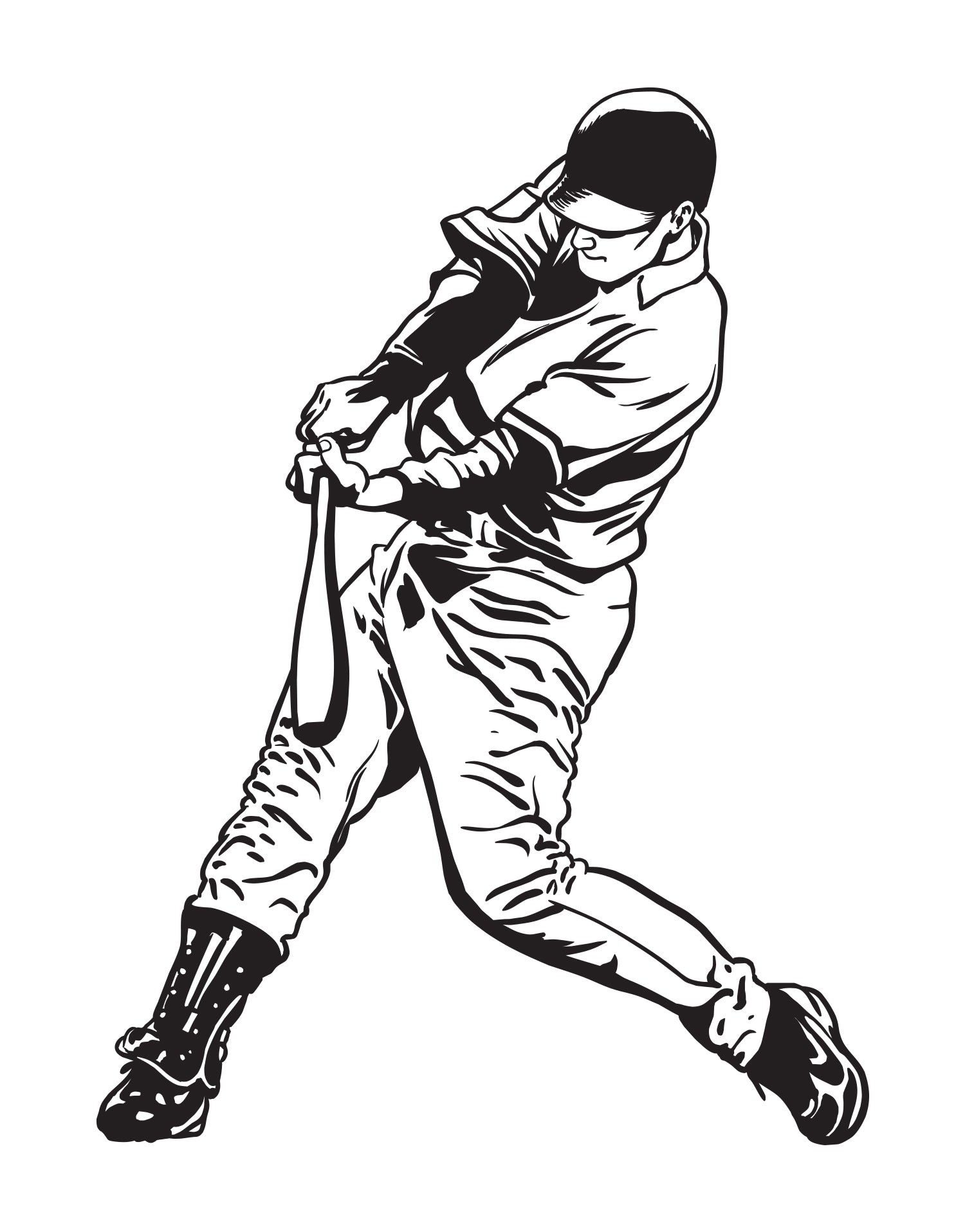 Baseball Player Swing Wall Decal.  #678