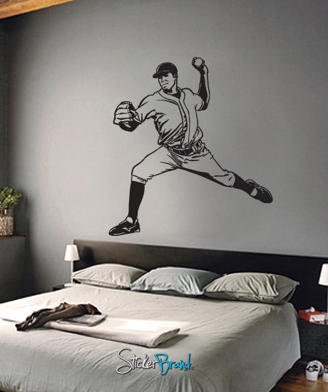 Vinyl Wall Decal Sticker Baseball Pitcher #680
