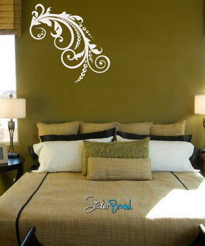 Vinyl Wall Decal Sticker Swirl Floral Dots #707