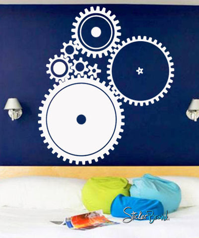 Vinyl Wall Decal Sticker Industrial Gear Pattern #718