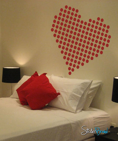 Vinyl Wall Decal Sticker Heart Shape Dots #734