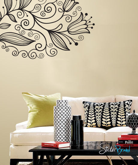 Vinyl Wall Decal Sticker Corner Flower Bkgrd #750