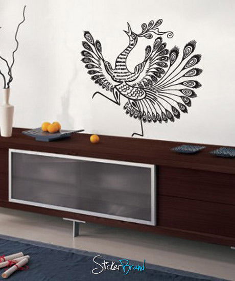 Vinyl Wall Decal Sticker Asian Style Peacock Bird - Vinyl wall decals asian