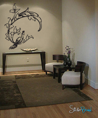 Vinyl Wall Decal Sticker Peacock on Flower #752