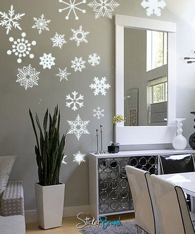 vinyl wall decal sticker snowflakes obsidian dawn 753 stickerbrand wall art decals wall. Black Bedroom Furniture Sets. Home Design Ideas