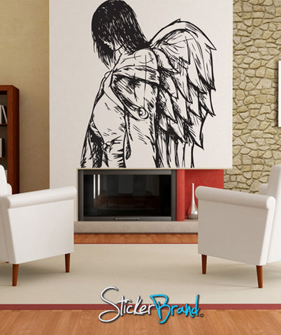 Vinyl Wall Decal Sticker Angels and Demons Drawing #773