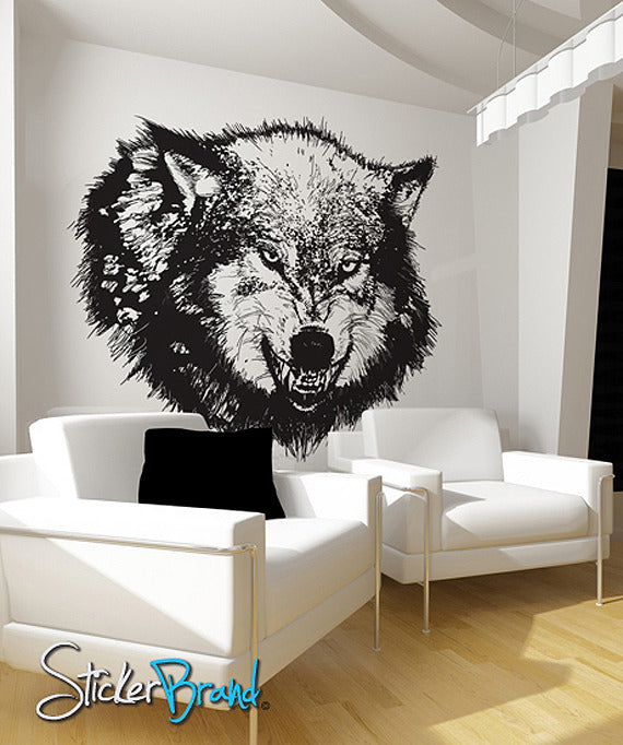 Vinyl Wall Decal Sticker Angry Wolf 789