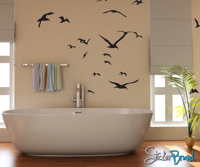 Seagulls Flying Around Vinyl Wall Decal Sticker. #794