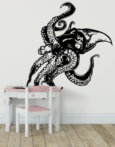Giant Octopus with Tentacles Wall Decal. Sea Life Home Decor. #809
