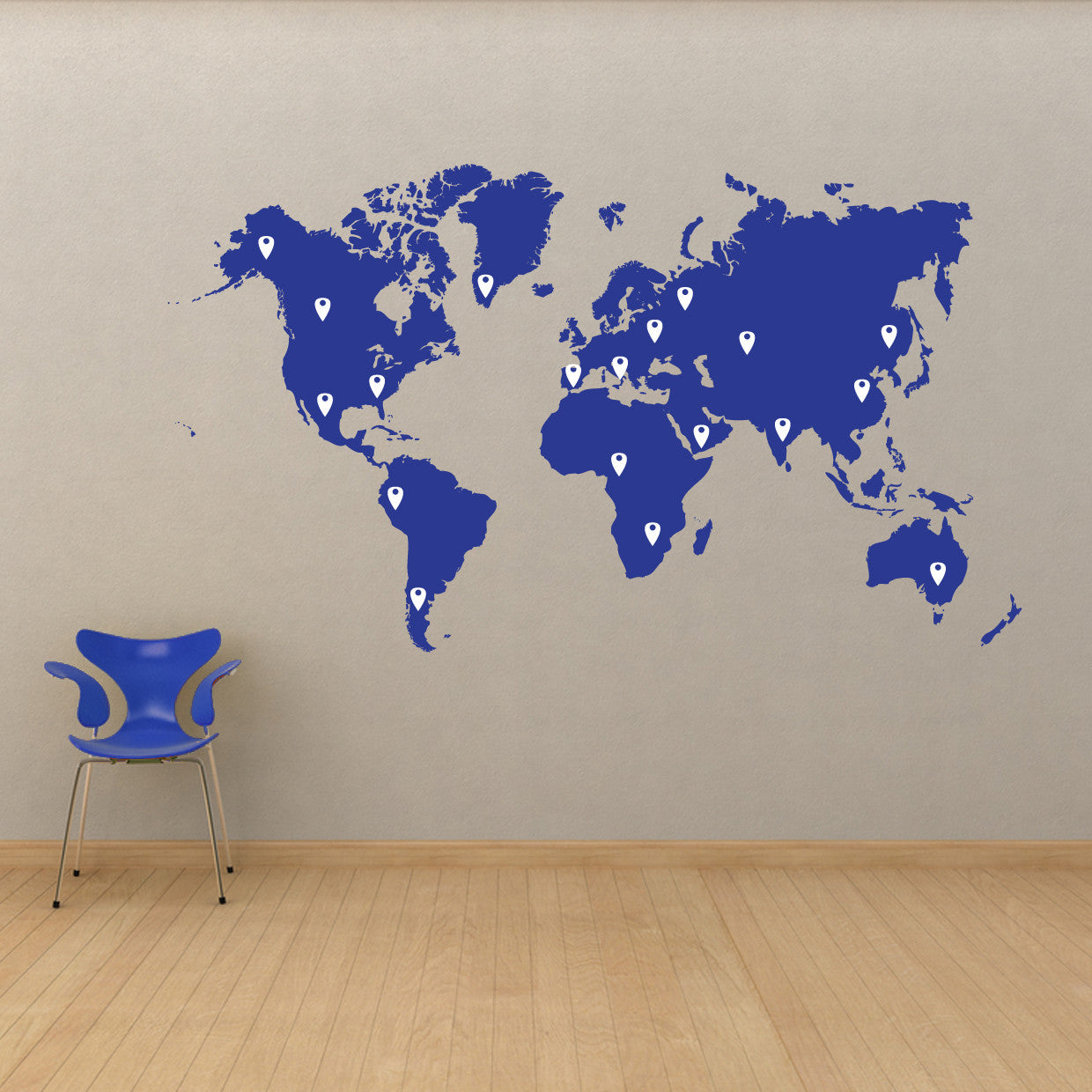 World map vinyl wall decal world map with pins world map pin drops decal 873 gumiabroncs Gallery