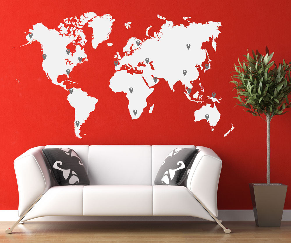 World map vinyl wall decal world map with pins world map pin drops decal 873 gumiabroncs Image collections