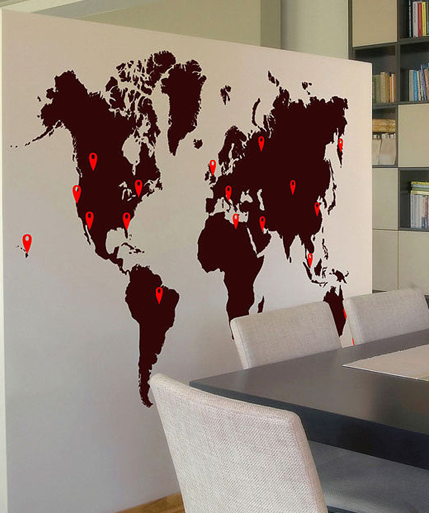 world map pin drops decal 873