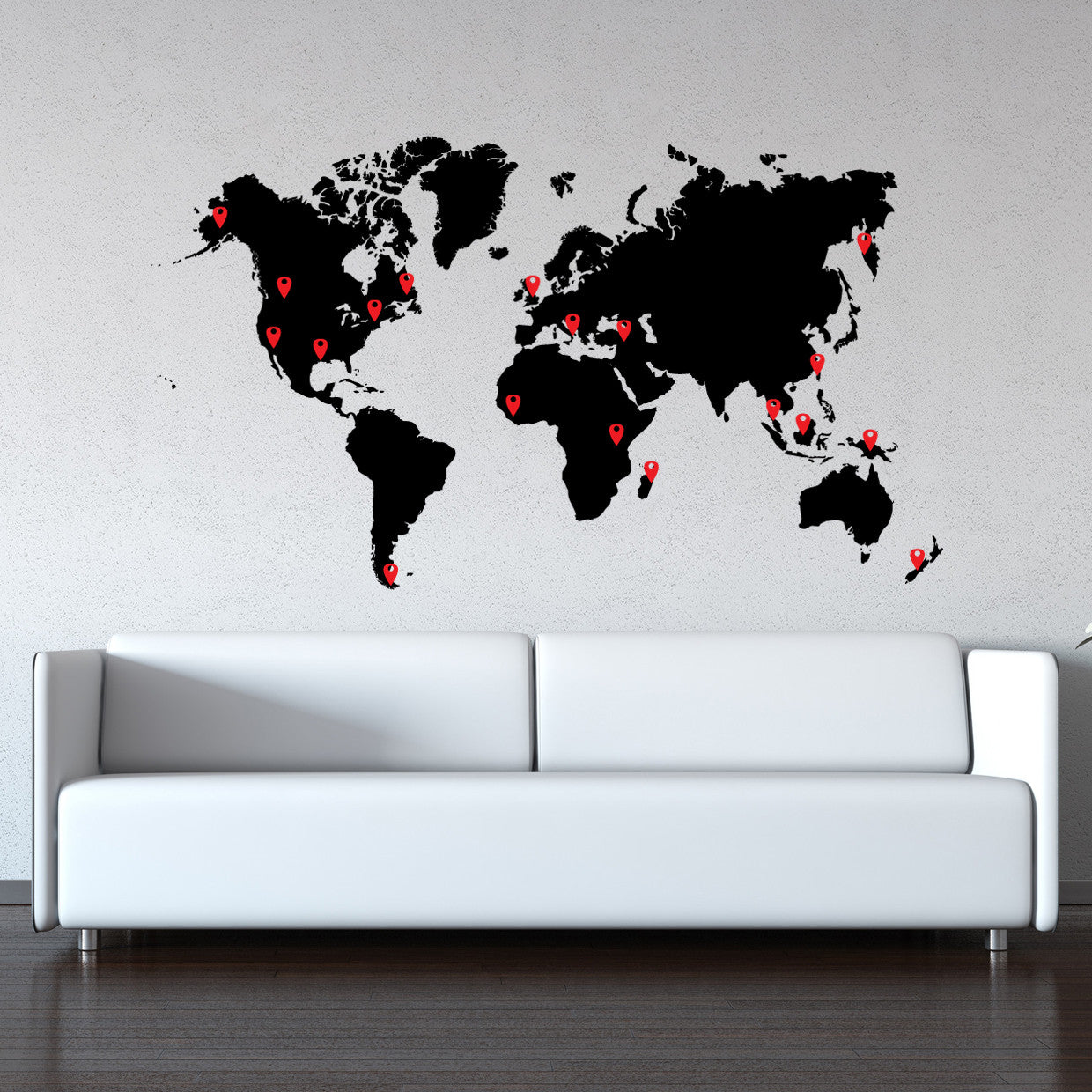 World map vinyl wall decal world map with pins world map pin drops decal 873 gumiabroncs Choice Image
