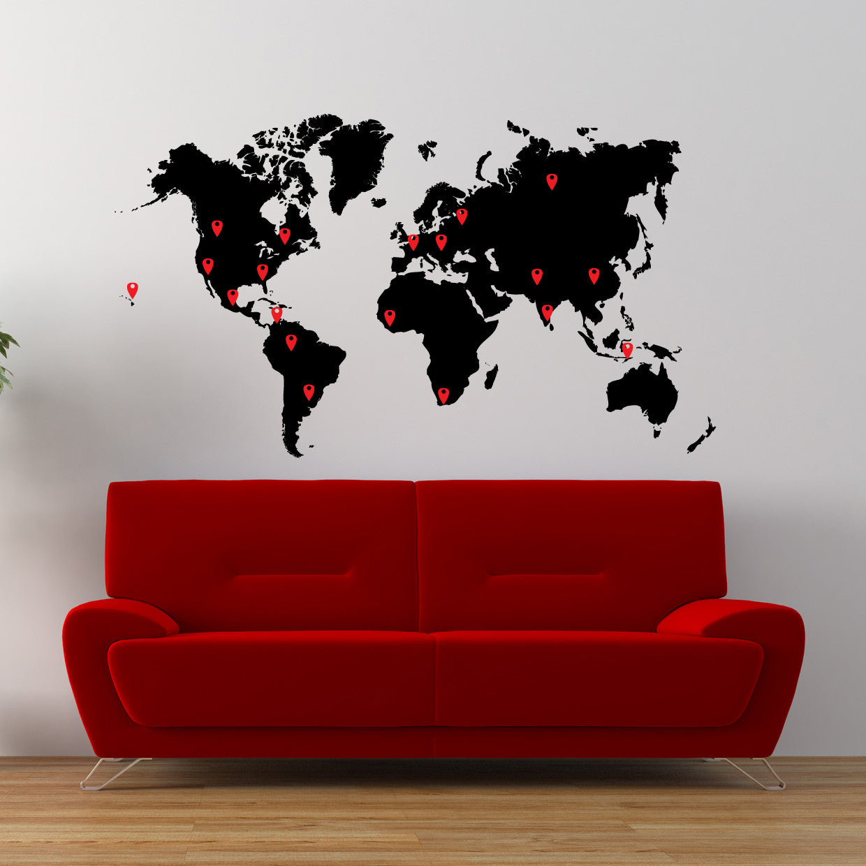 Map Of The World Decal.World Map Vinyl Wall Decal World Map With Pins