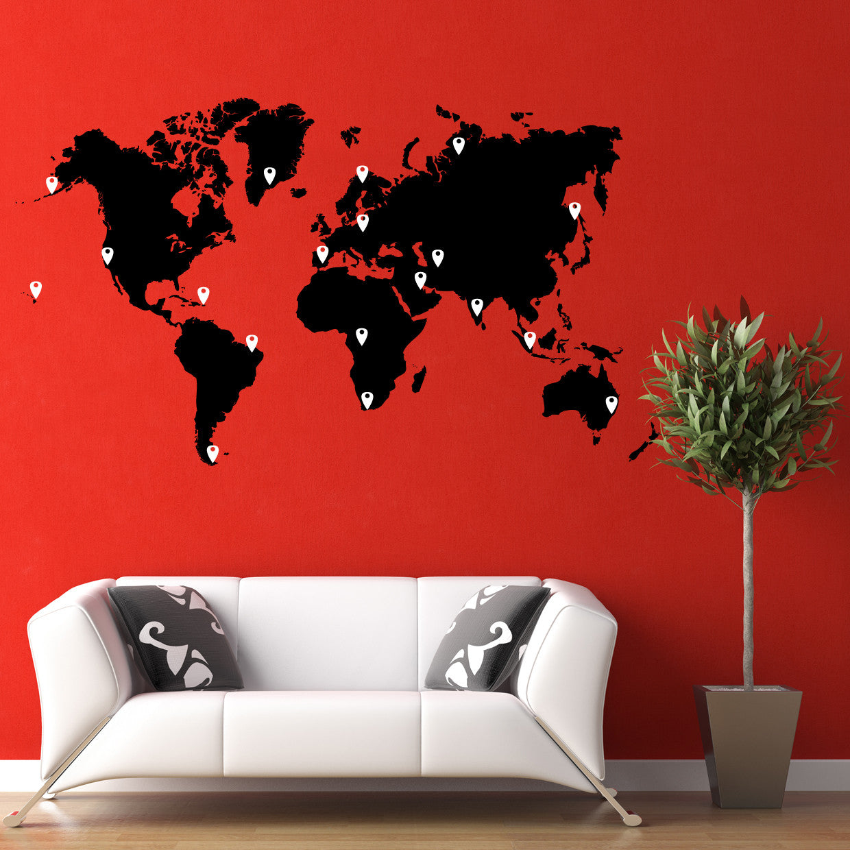 World map vinyl wall decal world map with pins world map pin drops decal 873 amipublicfo Gallery