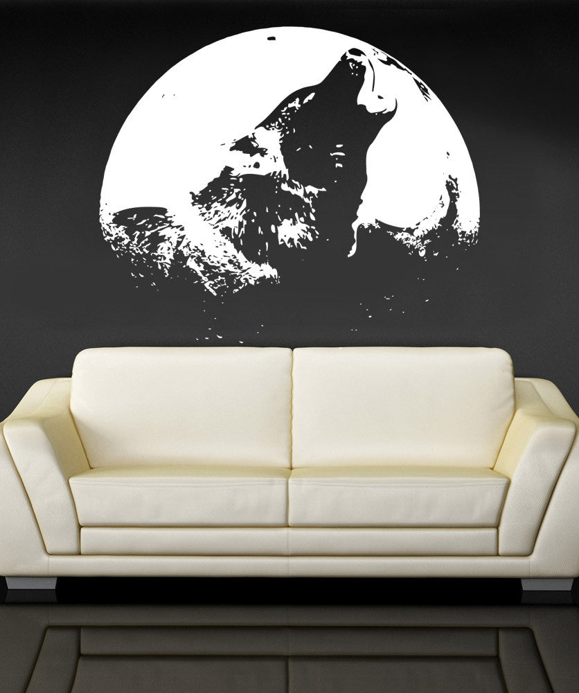 Vinyl Wall Decal Sticker Wolf Howling Over Moon #886