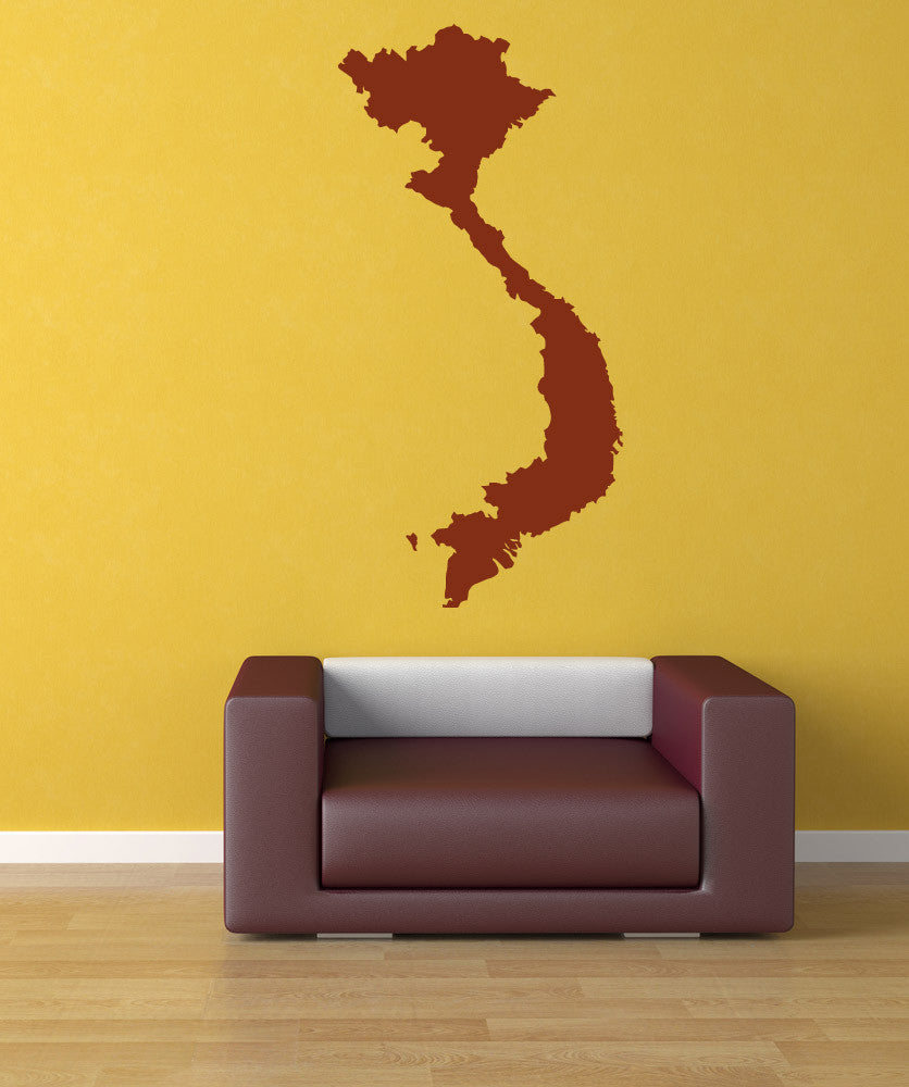 Vinyl Wall Decal Sticker Vietnam Country Silhouette #887