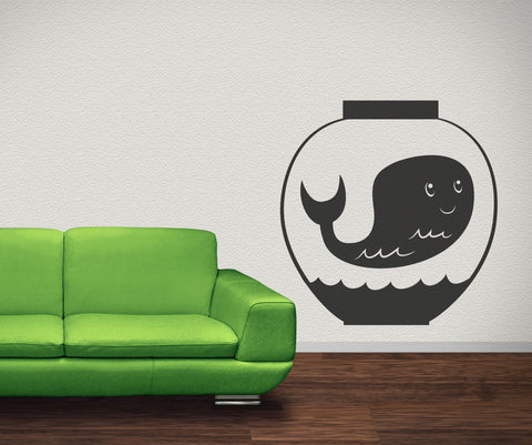 Vinyl Wall Decal Sticker Whale in Bowl #OS_MB411