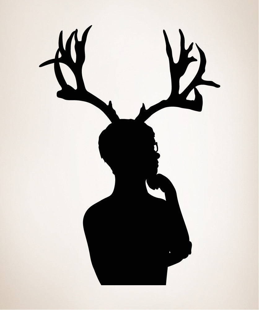 Vinyl wall decal sticker man with antlers os mb299