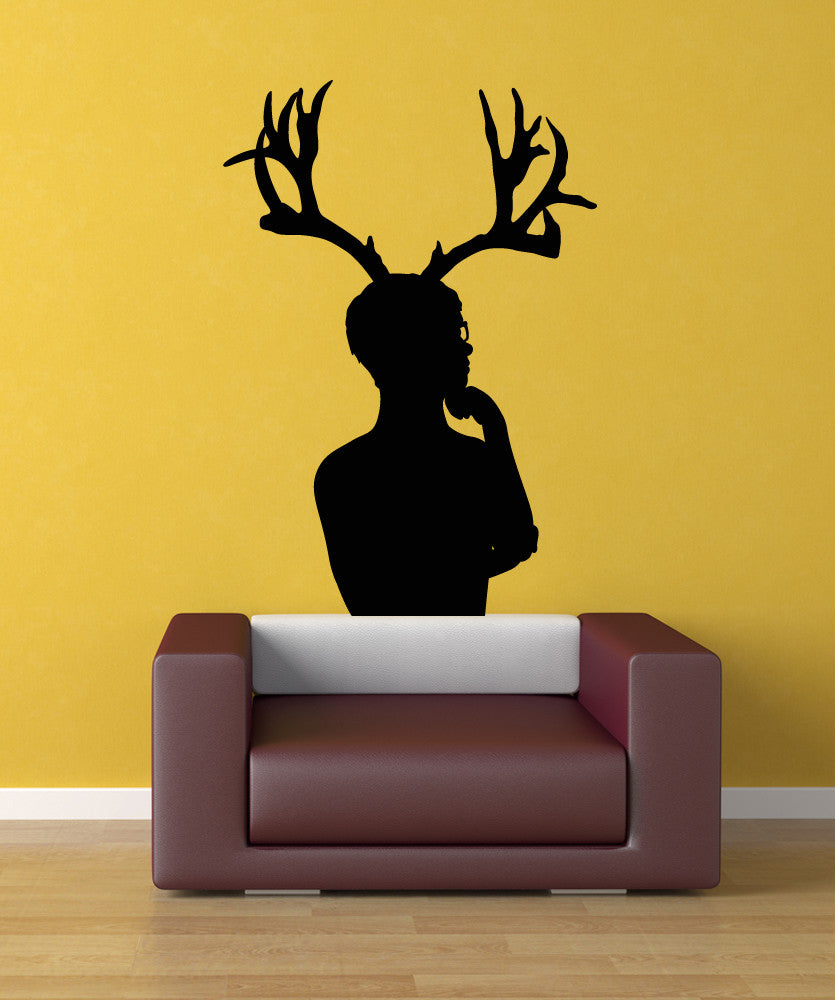 Vinyl Wall Decal Sticker Man with Antlers #OS_MB299