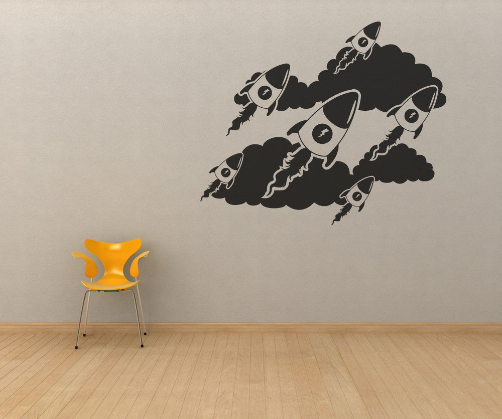 Vinyl Wall Decal Sticker Rockets and Clouds #OS_MB110