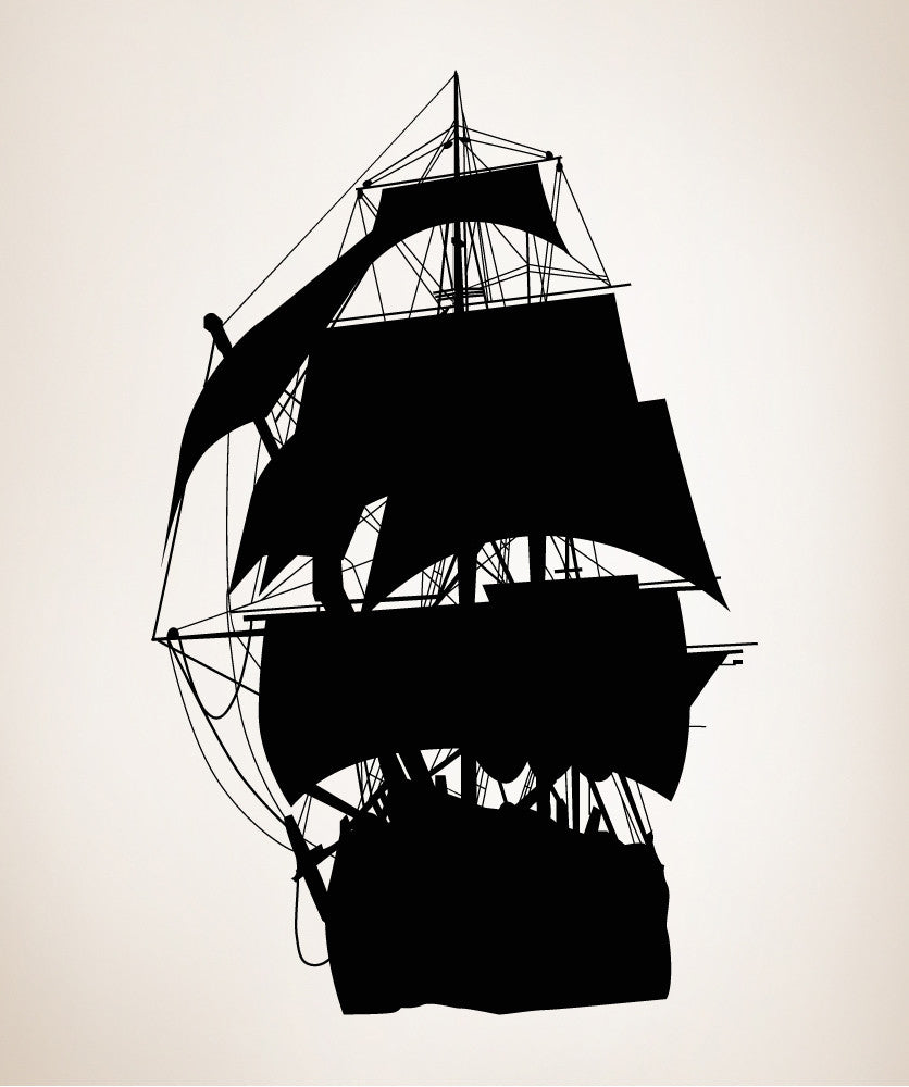 Vinyl Wall Decal Sticker Pirate Ship Silhouette #OS_MB139