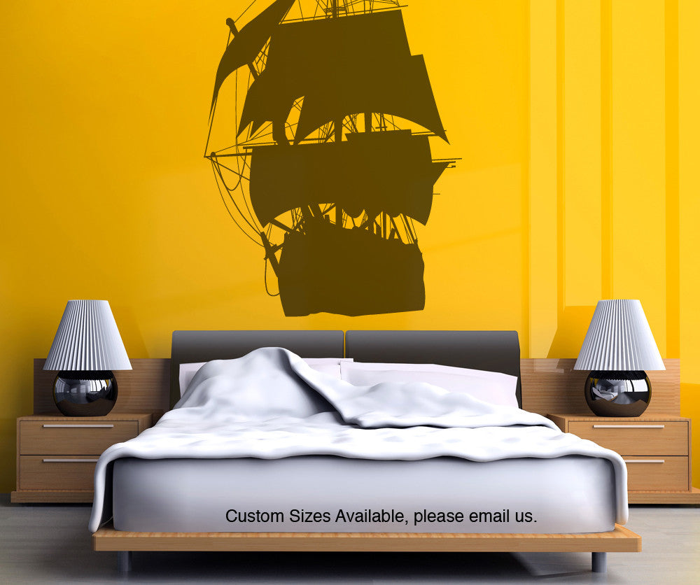 Vinyl wall decal sticker pirate ship silhouette osmb139 amipublicfo Gallery