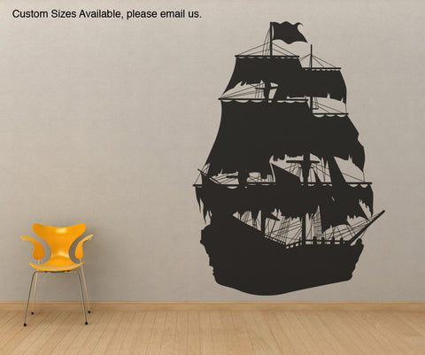 Vinyl Wall Decal Sticker Pirate Ship Silhouette OS_MB141