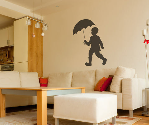 Vinyl Wall Decal Sticker Boy with Umbrella #OS_MB346