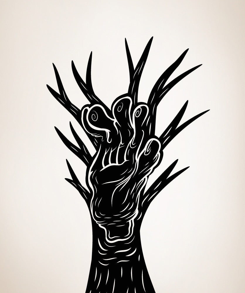 Vinyl Wall Decal Sticker Abstract Tree with Hand #OS_MB394