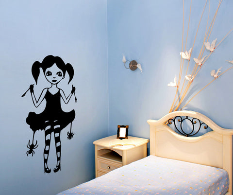 Vinyl Wall Decal Sticker Gothic Spider Girl #OS_MB474