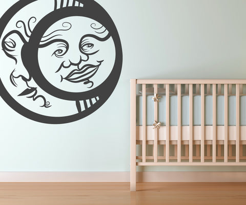 Vinyl Wall Decal Sticker Moon and Sun #OS_MB255