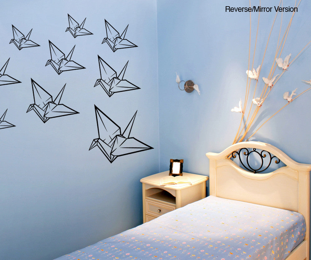 Vinyl Wall Decal Sticker Origami Cranes Item #OS_MB120