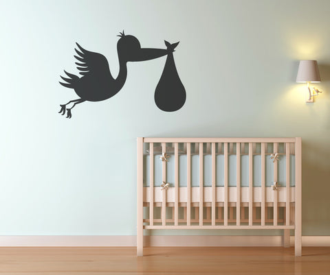 Vinyl Wall Decal Sticker Stork Brings Baby #OS_MB370