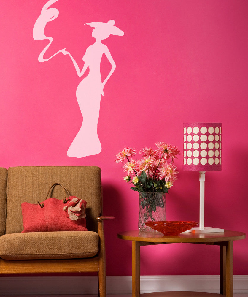 Vinyl Wall Decal Sticker Lady with Smoke Swirl #OS_MB496
