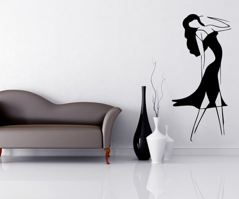 Vinyl Wall Decal Sticker Lady Sketch #OS_MB498