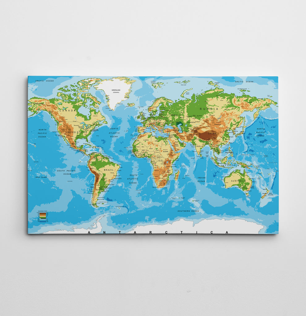 World Map Canvas By Ape Canvas C101