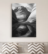 Black and White Arizona Sandstone Rock Canyon Landscape #C103