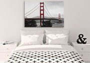 Golden Gate Bridge Canvas Print. Black and White with Red Accents. #C113