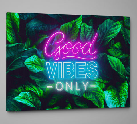 Good Vibes Only Art Canvas. Motivational Quote Stretched Canvas. #C114