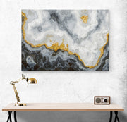 Gray and Gold Marble Stone Quartz Agate Art Canvas. #C119