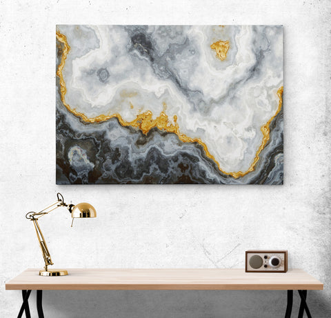 Gray and Gold Marble Stone Quartz Agate Art Canvas. #C115