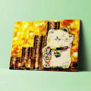 Lucky Cat Art Canvas for Prosperity and Good Fortune. Beckoning Cat, Fortune Cat Canvas. #C120