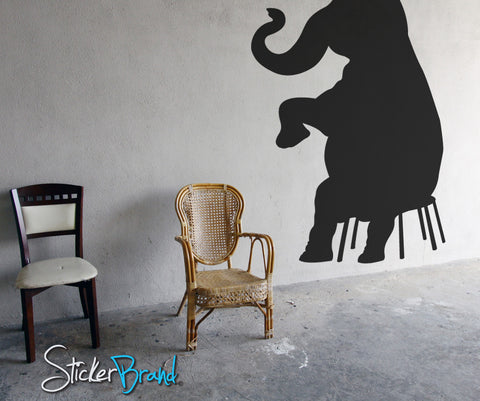Vinyl Wall Decal Sticker Circus Elephant On Chair #OS_MB173