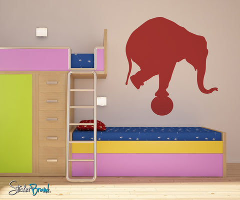 Vinyl Wall Decal Sticker Circus Elephant Balancing on Ball #OS_MB172
