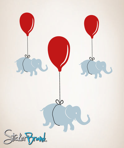 Graphic Wall Decal Sticker Elephants Hanging on Balloons #OS_MB184