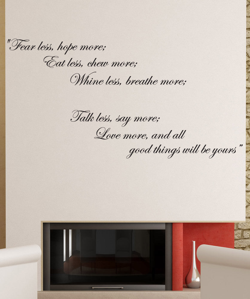 "Vinyl Wall Decal Sticker Inspirational Quote ""Fear Less ..."
