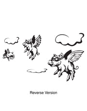 3 Little Pigs Flying Above Clouds Wall Decal.  #GFoster130