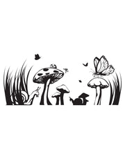 Floral Mushroom Field Vinyl Wall Decal Sticker. #GFoster149