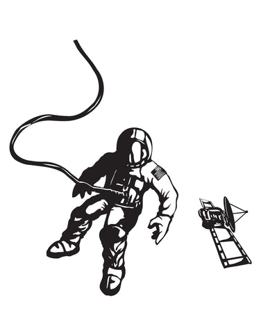 Space Walk Astronaut Satellite Vinyl Wall Decal Sticker. #GFoster151